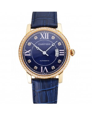 Swiss Cartier Ronde Solo Blue Dial Gold Diamond Case Blue Leather Strap