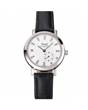 Swiss Piaget Altiplano Date Automatic White Dial Diamond Markers Stainless Steel Case Black Leather Strap