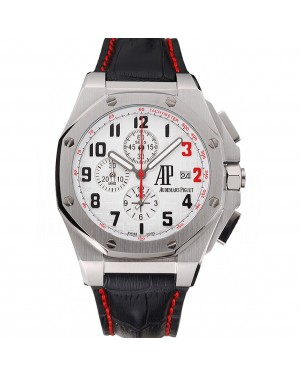 Audemars Piguet Royal Oak Offshore Shaquille O'Neal White Dial Stainless Steel Case Black Leather Strap