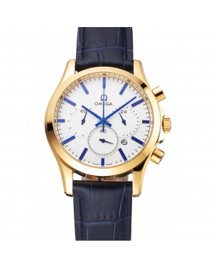Omega Chronograph White Dial Gold Case Blue Leather Strap