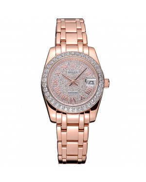 Rolex Datejust Diamond Dial And Bezel Pink Gold Case And Bracelet 622836