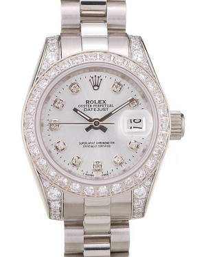 Rolex DateJust Brushed Stainless Steel Diamond Plated Case White Dial Diamond Plated Bezel