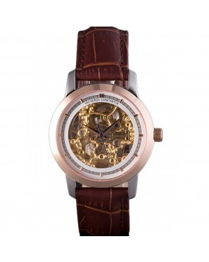 Vacheron Constantin White Skeleton Watch with Rose Gold Bezel and Brown Leather Strap 621539