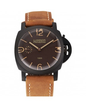 Swiss Panerai Luminor 1950 Brown Dial Black PVD Case Brown Suede Leather Strap 1453848