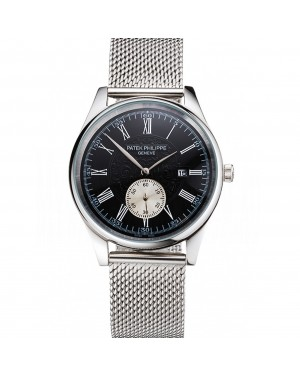 Patek Philippe Calatrava Small Seconds Black Engraved Dial Stainless Steel Case And Bracelet