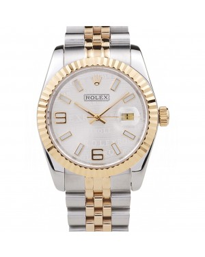 Rolex DateJust Two Tone Stainless Steel 18k Gold Plated Silver Dial 98084