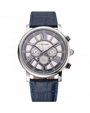 Cartier Rotonde Chronograph Black And White Dial Stainless Steel Case Blue Leather Strap