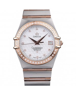 Omega Swiss Constellation Jewelry Diamond Case Omega Emblem White Dial 98111