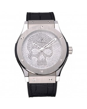 Hublot Classic Fusion Diamond Skull Dial Stainless Steel Case Black Leather Strap 622814