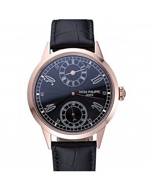 Patek Philippe Geneve Two Dial Black Dial Rose Gold Bezel Black Leather Band 622146