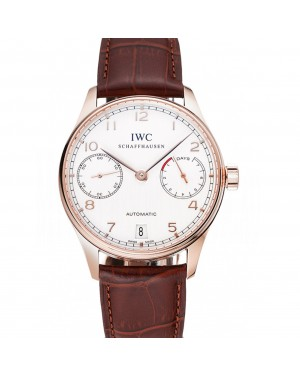 Swiss IWC Portuguese White Dial Gold Numerals Gold Case Brown Leather Bracelet 1453916
