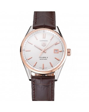 Swiss Tag Heuer Carrera Calibre 5 White Dial Rose Gold Case Brown Leather Strap
