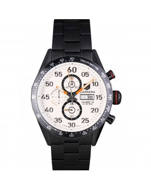 Tag Heuer Carrera Ion Plated Stainless Steel Bracelet White Dial 801444