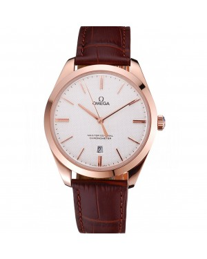 Swiss Omega DeVille Tresor White Dial Gold Case Brown Leather Strap 622846