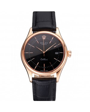 Swiss Rolex Cellini Date Black Dial Rose Gold Markings Rose Gold Case Black Leather Strap
