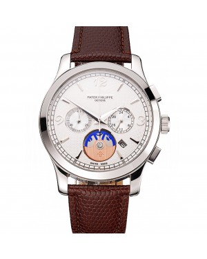 Patek Philippe Chronograph White Guilloche Dial Stainless Steel Case Brown Leather Strap