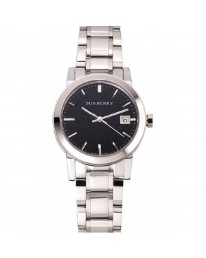 Burberry The City Black Dial Stainless Steel Case And Bracelet