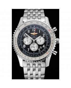 Breitling Navitimer Black Dial White Subdials Stainless Steel Case And Bracelet