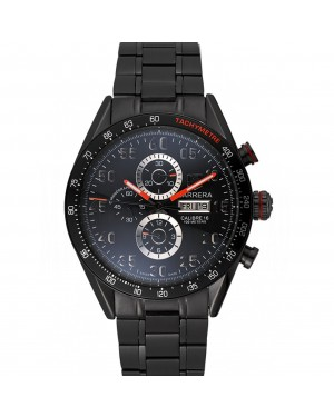 Tag Heuer Carrera Ion Plated Stainless Steel Bracelet Black Dial 801445