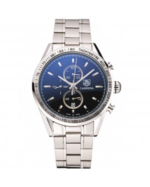 Tag Heuer Carrera Tachymeter Bezel Black Dial Stainless Steel Strap
