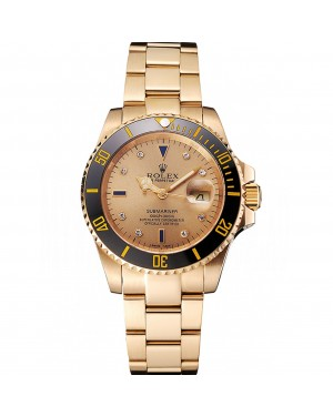 Swiss Rolex Submariner Gold Dial With Diamond Markings Black Bezel Yellow Gold Case And Bracelet