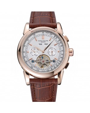 Patek Philippe Grand Complications Gold Case White Dial Brown Leather Bracelet 622259