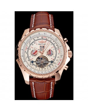 Breitling For Bentley Mulliner Tourbillon White Dial Rose Gold Case Brown Leather Strap