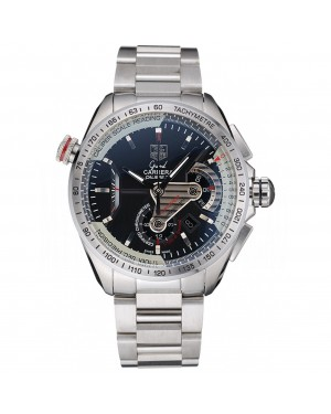 Tag Heuer Swiss Carrera Tachymeter Bezel Stainless Steel Black Dial