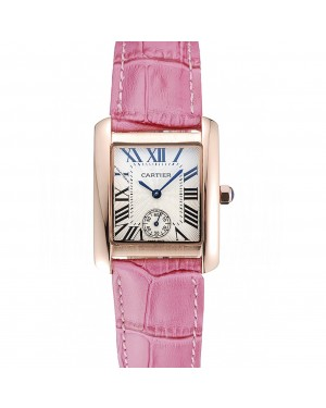 Cartier Tank MC Gold Case White Dial Pink Leather Strap 622176