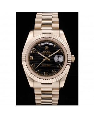 Rolex DayDate Black Patterned Dial Gold Stainless Steel Strap 41980