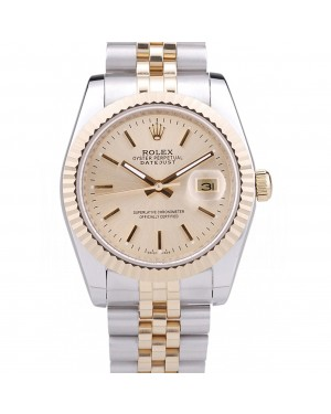 Rolex Datejust Gold Dial Ribbed Bezel 7450