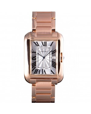 Cartier Tank Anglaise 36mm White Dial Rose Gold Case And Bracelet
