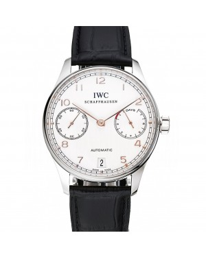 Swiss IWC Portuguese White Dial Rose Gold Numerals Silver Case Black Leather Bracelet 1453910