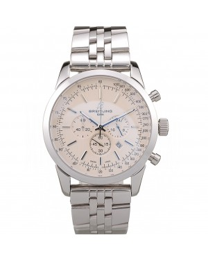 Breitling Transocean White Dial Stainless Steel Strap