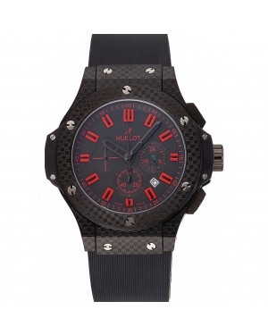 Hublot Big Bang Carbon Dial With Red Markings Carbon Case And Bezel Black Rubber Strap 622775