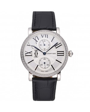 Cartier Ronde Second Time Zone White Dial Stainless Steel Case With Diamonds Black Leather Strap 622804