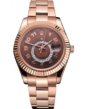 Rolex Sky Dweller Brown Dial Rose Gold Case Brown Leather Strap