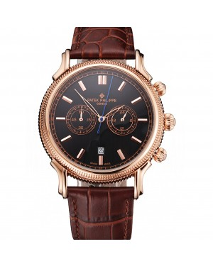 Patek Philippe Chronograph Black Dial Rose Gold Case Brown Leather Strap