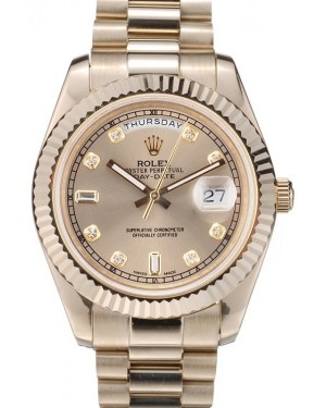 Rolex DayDate Gold Stainless Steel Ribbed Bezel Goldish Dial 41979