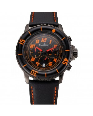 Blancpain Fifty Fathoms Speed Command Carbon Fiber Dial With Orange Markings Black PVD Case Black Leather Strap 1453776