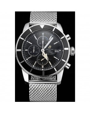 Breitling Superocean Heritage Chronographe 46 Black Dial And Bezel Stainless Steel Case And Bracelet