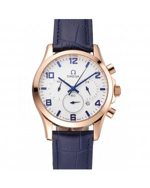 Omega Chronograph White Dial Rose Gold Case Blue Leather Strap