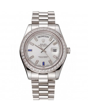 Swiss Rolex Day-Date Diamonds Bezel Staineless Steel Bracelet 1454109
