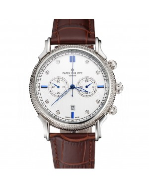 Patek Philippe Chronograph White Dial With Diamond And Blue Markings Stainless Steel Case Brown Leather Strap