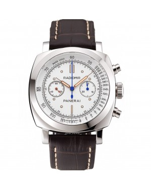 Swiss Panerai Radiomir 1940 Chronograph White Dial Stainless Steel Case Brown Leather Strap