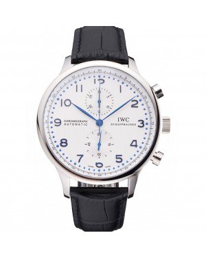 Swiss IWC Portugieser Power Reserve White Dial Stainless Steel Case Black Leather Strap