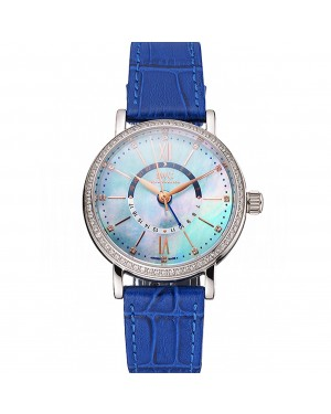IWC Portofino Day And Night Pearl Dial Stainless Steel Case Blue Leather Strap