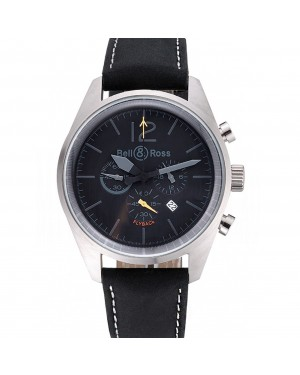 Bell and Ross BR126 Flyback Black Dial Silver Case Black Suede Leather Strap