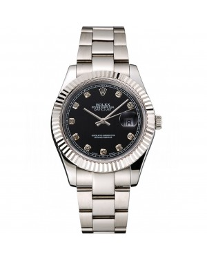 Swiss Rolex Datejust Black Dial Dimond Hour Marks Stainless Steel Case And Bracelet