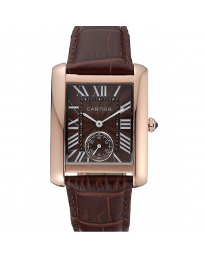 Cartier Tank MC Gold Case Brown Dial Brown Leather Strap 622175